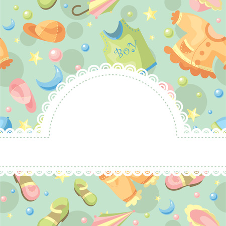 baby goods: baby background illustration with free space for photo