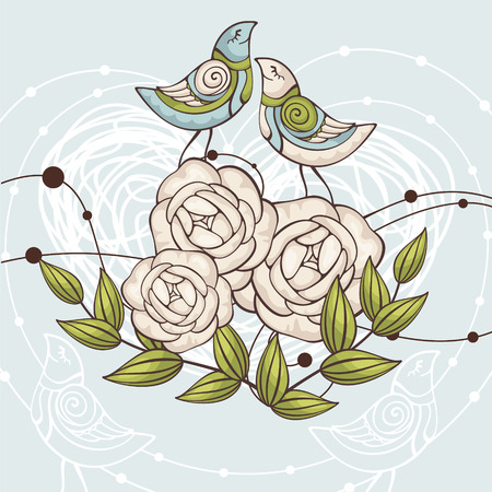 abstract cute floral   illustration with birds Illustration