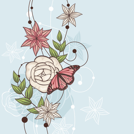 rose butterfly: abstract cute floral  illustration with butterfly