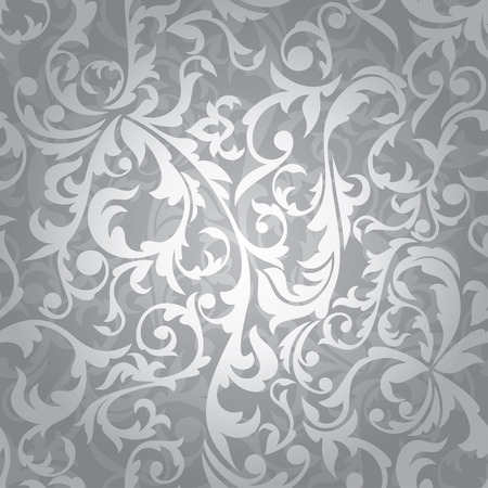 floral ornaments: abstract seamless silver floral background  illustration