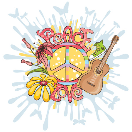 peace movement: abstract peace and love vector illustration background