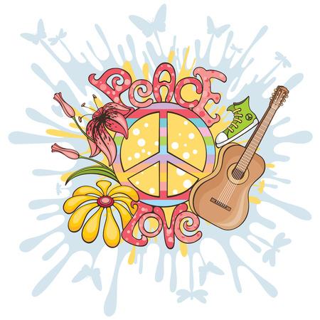 simbolo de la paz: Fondo abstracto de ilustraci�n de vector de paz y amor Vectores