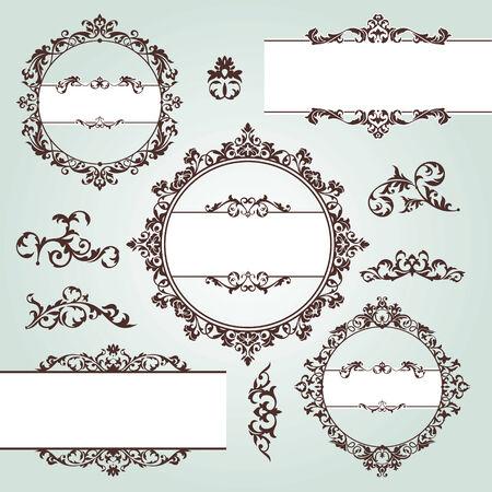 conjunto de elementos de diseño floral vintage vector