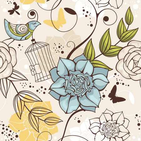 abstract vector seamless floral background with bird Vector