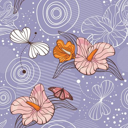 abstrakcyjne ilustracji wektorowych cute bez szwu tła kwiatu