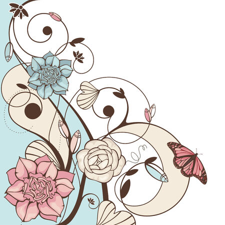 callas: abstract cute floral vector illustration with butterfly