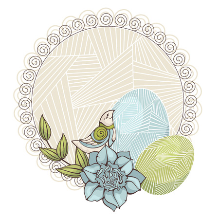 abstract vector illustration background with bird and eggs Vector