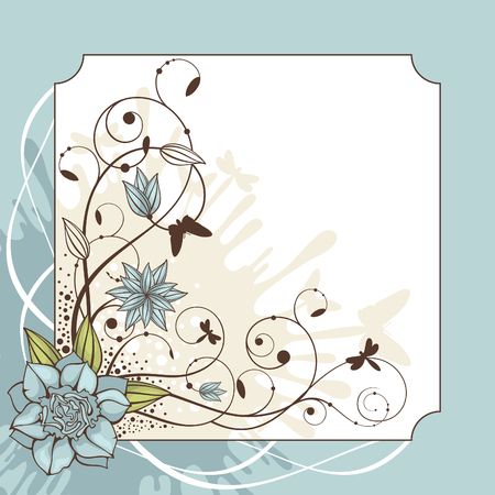 abstract cute lovely floral frame vector illustration Vector