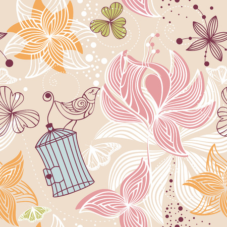 abstract seamless cute floral background vector illustration