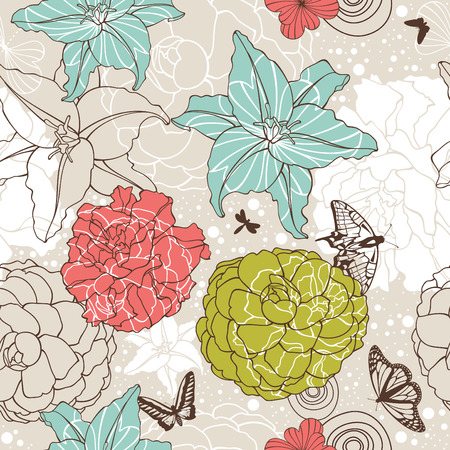 abstract cute seamless floral background vector illustration Vector