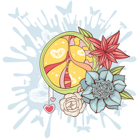abstract peace symbol with flowers vector illustration Vector