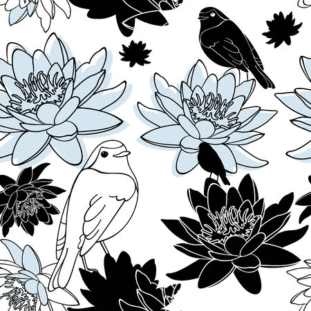 nenuphar: abstract vector seamless floral background with bird