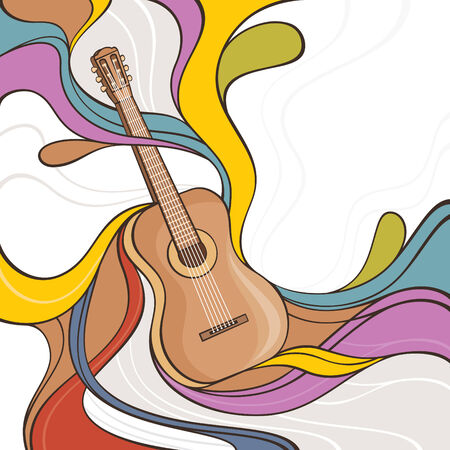musical instrument: abstract colorful vector illustration with acoustic guitar