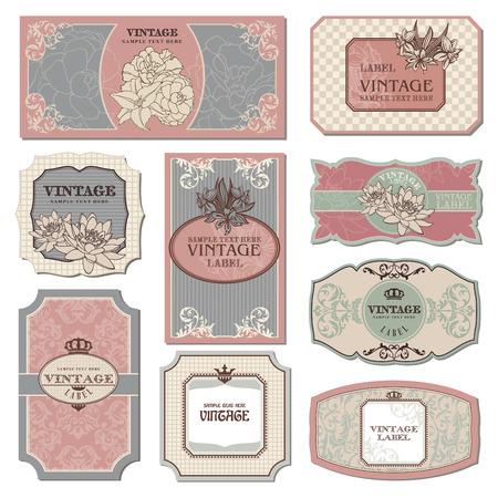 conjunto de ilustración de etiquetas cosecha retro