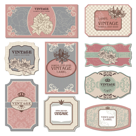 set of retro vintage labels illustration Illustration