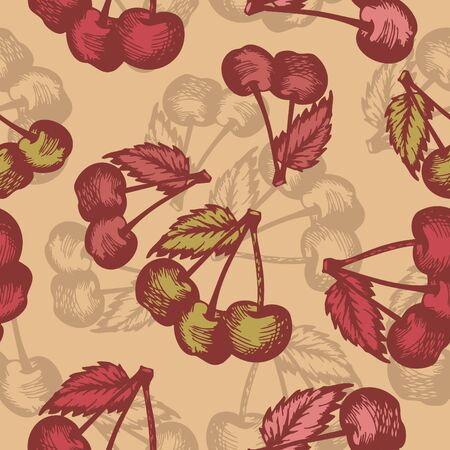 abstract vector seamless retro background with cherry Vector