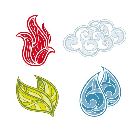 fire water: abstract vector icon set of nature elements Illustration