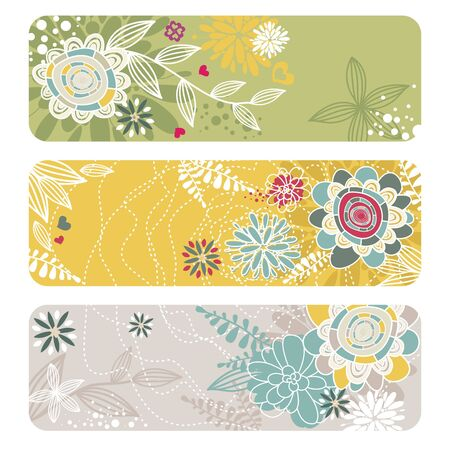set of abstract floral banners