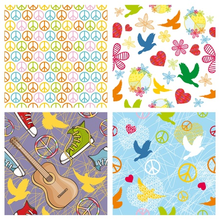vector set of different peace seamless background Vector