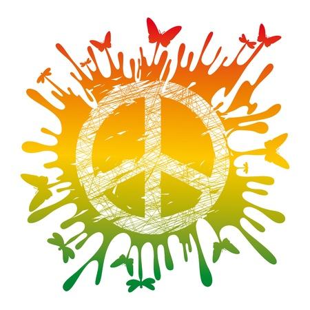simbolo paz: Ilustraci�n de s�mbolo de paz hippie art�stica abstracta