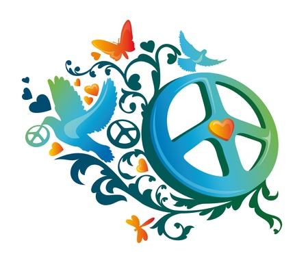 dove of peace: abstract artistic hippie peace symbol illustration