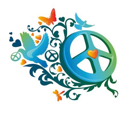 paloma de la paz: Ilustraci�n de s�mbolo de paz hippie art�stica abstracta