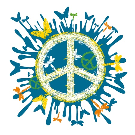 abstract artistic hippie peace symbol Stock Vector - 9934114