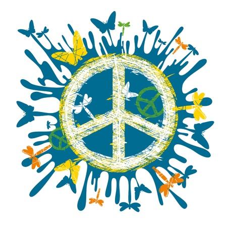simbolo de la paz: s�mbolo de paz hippie art�stica abstracta
