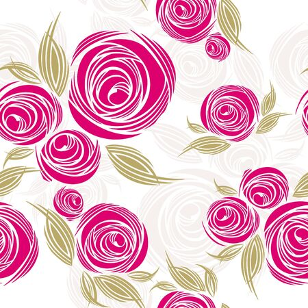 flower: abstract decorative seamless pattern with roses illustration Illustration
