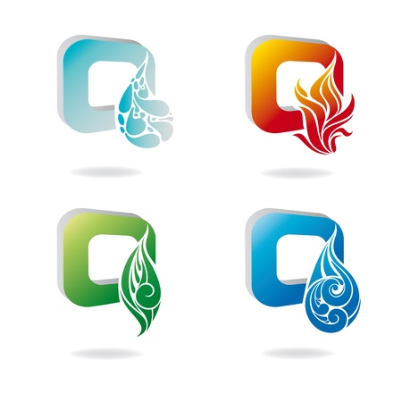 colourful fire: abstract icon set of nature elements