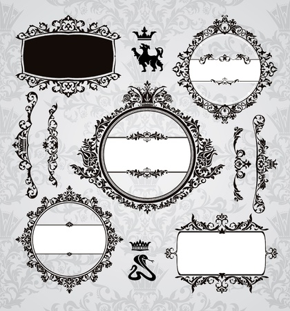 set of royal frames and vintage design elements Stock Vector - 10142111