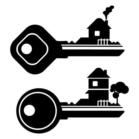 llaves: Ilustraci�n resumen gr�fico vectorial de una casa de clave Vectores