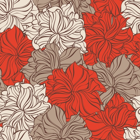 abstract vector decorative seamless pattern with flowers Illustration