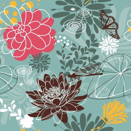 abstract lovely seamless floral pattern  Vector