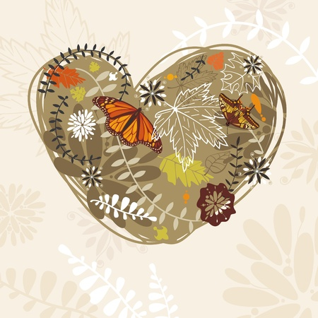 butterfly isolated: abstract colorful lovely autumn card vector illustration