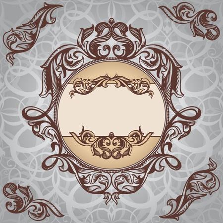 silver silk: abstract retro vintage floral frame vector illustration