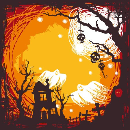 abstract cartoon cute halloween background vector illustration Vector