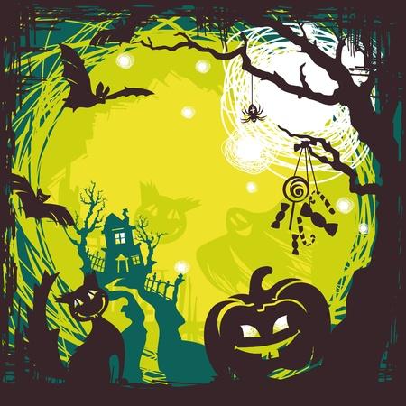 abstract cartoon cute halloween background vector illustration Vector