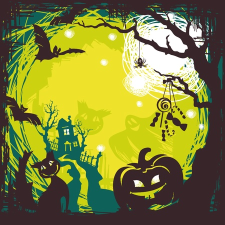 abstract cartoon cute halloween background vector illustration Illustration