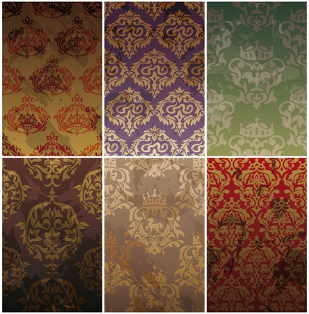set of seamless vintage background illustration Vector