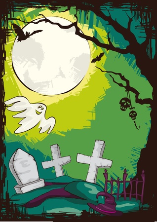 abstract Halloween evening cemetery background illustration