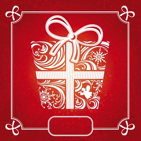 abstract decorative red Christmas card illustration Vector