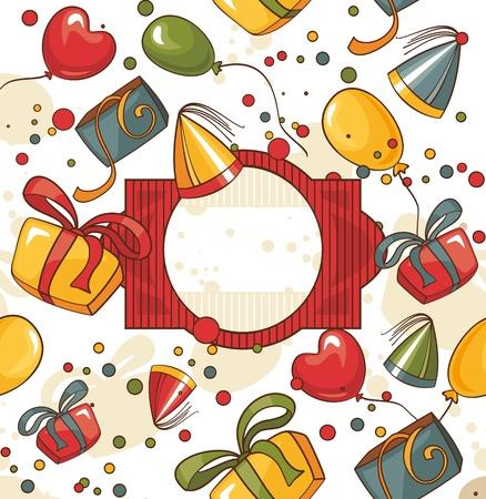 carnival border: abstract cute happy birthday card illustration