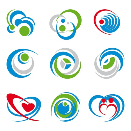 artistic logo: set of various symbols isolated on white