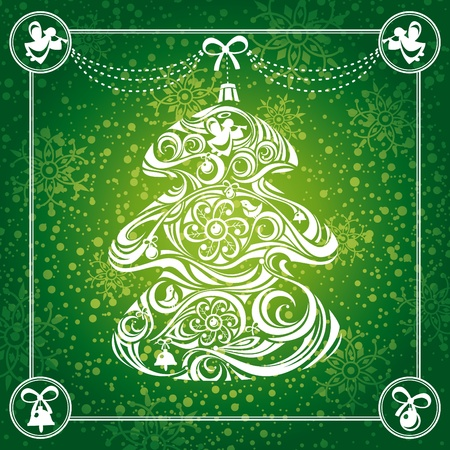 abstract Christmas tree card background illustration Vector