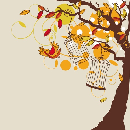 tree in autumn: abstract autumn background with tree illustration Illustration