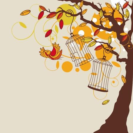 abstract autumn background with tree illustration Illustration