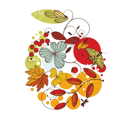 big apple: abstract cute floral autumn card illustration