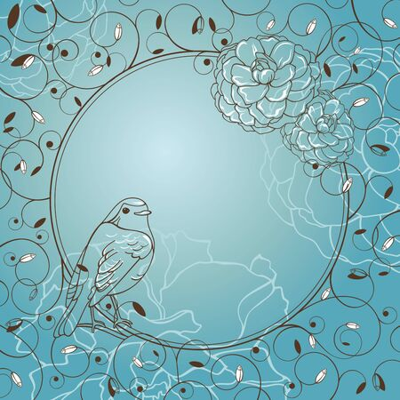 abstract lovely vector froral frame with bird Vector