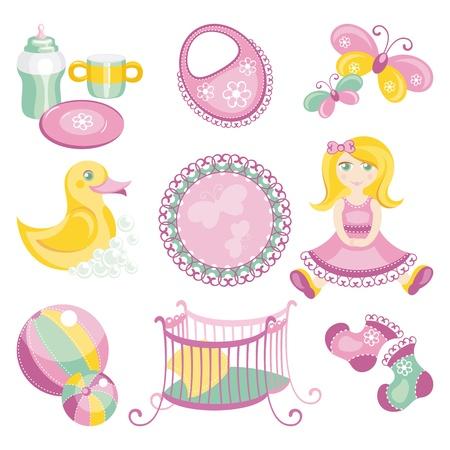nacimiento bebe: Resumen ilustración vectorial de productos para bebés lindos
